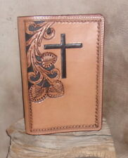 New US Made Custom Genuine Leather Bible Cover, Hand Tooled. G&E