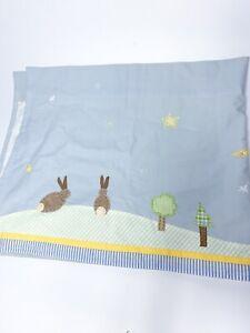 "Pottery Barn Kids ""Wish Upon A Star"" Curtain Valance Blue Yellow Bunny Lamb Star"