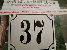 Hausnummer Emaille Nr. 37 schwarze Zahl auf weißem Hintergrund 12 cm x 10 cm