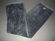 "NEW Luxury BLACK Tri-Fold Golf Towel 100% Terry Velour Cotton 16.5"" x 25.5"""