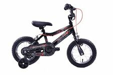 "Spider Boys 12"" Wheel Spiderman Style Kids BMX Bike Black & Stabilisers Age 3+"