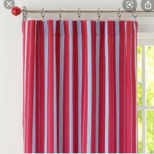 """POTTERY BARN KIDS Red & Blue Classic Stripe Panel Curtains- Set of Two-  44x63""""L"""