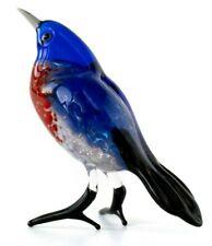 Blue Bird Glass Figurine, Blown Glass Art, White Bird Miniature