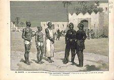 Campagne d'Egypte Enrôlements Fellahs Armée Arabi-Pacha à Demanhour GRAVURE 1882