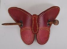 Evita Peroni Barrette Hair Slide Clip Leather Red Butterfly