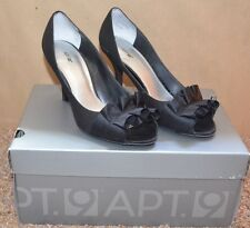 """NEW ~ APT 9 Black Fabric OPEN TOE Shoes / Size 6-1/2 M / 3-1/4"""" Heel REALLY CUTE"""