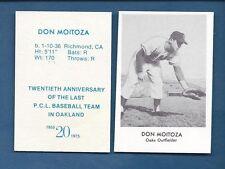 1955 Oakland Oaks PCL commemorative card: DON MOITOZA (1975 Doug McWilliams)