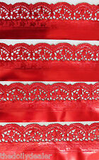 10 x RED FOIL PAPER LACE DOILY BORDERS/TRIMS EMBOSSED FOR CARDS, ARTS, CRAFTS
