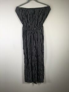 Glassons womens navy blue striped strapless jumpsuit size 14 stretchy fit viscos