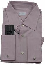 Ermenegildo Zegna Pink Self-Stripe Shirt Made in Italy BNWT Size 45 / 17.75