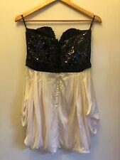Bardot strapless midi black and champagne cocktail dress (size 12)