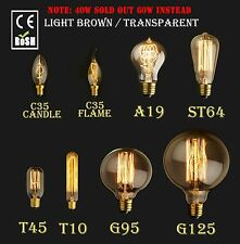 60/40W E27 E14 Vintage Retro Edison Style Lighting Filament Lamp Bulb 110/220V