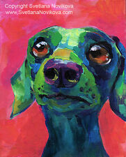 ART PRINT Dachshund dog #2 painting Svetlana Novikova