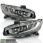 2016-2020 Honda Civic Halogen Type LED DRL Projector Headlights Lamps Left+Right <br/> Compatible w/ Factory Halogen Headlight Models Only