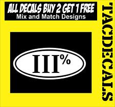 "0033     III% oval 8"" x 3.5"" decal sticker"