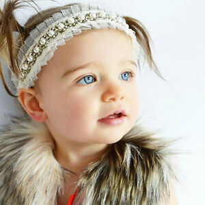 Ivory Lace Beaded headband with Pearl Vintage headband flower girl headband