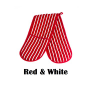 100% Cotton Red & White Butcher Stripe Double Oven Glove Mitts Quilted