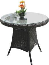 Weatherproof PE Wicker Round Coffee Table 80cm - Dark Grey