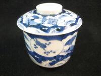ANTIQUE JAPANESE TAISHO ERA IMARI CERAMIC CHAWAN LIDDED BOWL TEACUP CUP SCENIC