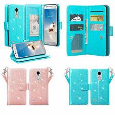 LG Rebel 3,LG Aristo,LG Phoenix 3/LG Fortune Case Glitter Bling Leather Wallet