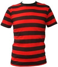 ADULTS FANCY DRESS DENNIS THE MENACE STYLE RED AND BLACK T-SHIRT STRIPED STAG DO