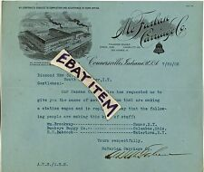 1905 LETTERHEAD Connersville Indiana ALFRED HARRY McFARLAN CARRIAGE automobile