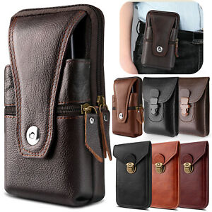 Cell Phone Waist Belt Holster Loop Pack Bag PU Leather Pouch Wallet Case Cover