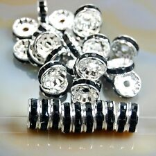 100pcs Czech Crystal Rhinestone Silver Rondelle Spacer Beads 4,5,6,8,10mm