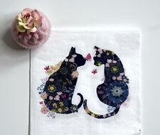 4 single 33 cm paper napkins, floral black cats, love, table, decoupage, R4029