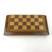"""Vintage Solid Wood Chess Set W Wood Pieces Portable Folding Case 3"""" Tall King"""