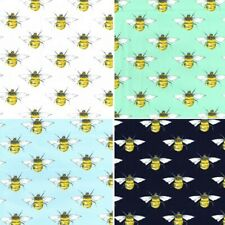 100% Cotton Poplin Fabric Rose & Hubble Bumble Bees Honey Bee