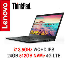 ThinkPad T470s i7 3.5GHz WQHD IPS 24GB 512GB NVMe 4G LTE 2Y OS Warranty T480s