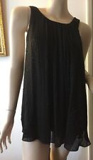 NEW L'Agence Black Silk Top/Blouse w/Silver Beads & Sequince Sz. 10