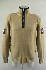 Mens NAPAPIJRI Woolen Cardigan Knit Jumper Half Polo Zip Neck Pullover Size M