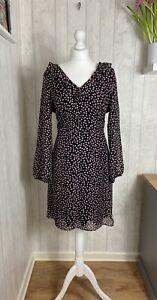 Wallis Petite Black And Pink Spot Ruffle Frill Neck Dress 16 BNWT