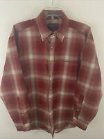 Pendleton Mens Wool Flannel Button Down Shirt Red  Vintage Sz L Big Tall
