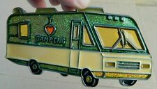 """I Love Camping Rv Suncatcher Stained Glass-Style Window Hanging-Gr/Yellow-5"""" -Euc"""