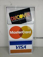 Vintage Master Card, Visa & Discover Credit Card Double Sided Flange Sign