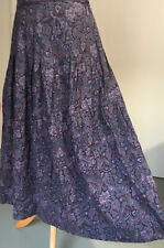 Laura Ashley Skirt 16 12 Vintage Purple Wool & Cotton MIDI Winter Paisley Boho