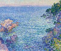 Oil painting theo van rysselberghe - La Pointe du Rossignol impressionism scene