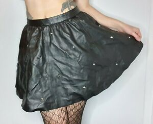 Black faux leather high waist skirt with studs. Biker / goth / rock / punk style