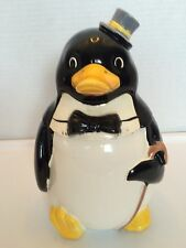 DAPPER PENQUIN COOKIE JAR BOW TIE GRAY TOP HAT AND WALKING CANE ~ JAPAN
