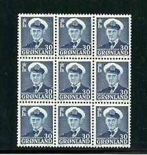 Greenland #33 (Gr216) Block of 9, Frederik Ix 30 Dark Blue, Mnh, Fvf, Cv$360.00