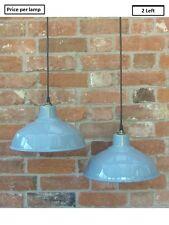 "Grey 12"" Vintage 1950's Benjamin Enamel Pendant Lamp/Lights REWIRED 2 Left"