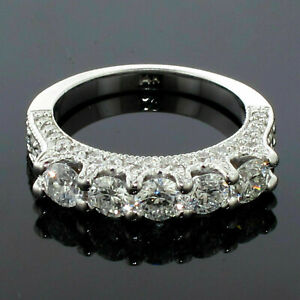 2.50 CT TW 5-Stone Diamond Encrusted Anniversary Wedding Ring in 14k White Gold