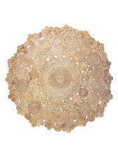 Extra Large Round Indian Jute Rug Fleur Decorative Rustic Boho DESIGNER 150cm