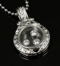 CLASSIC Sterling Silver Cubiz Zirconia Glass Pendant Necklace CZ Move Inside AU