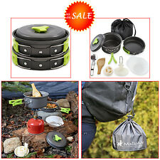 Aluminum Camping Cookware Non-stick Survival Backpacking Gear Travel w Carry Bag