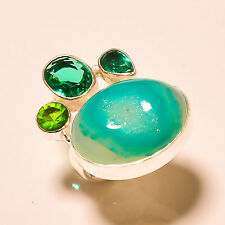 Sterling Silver Ring s.5.5 4587 Botswana Agate Druzy, Chrome Diopside 925