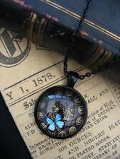 Gothic Butterfly Clock Necklace Pendant Bronze Fantasy Pagan Gears Punk Black